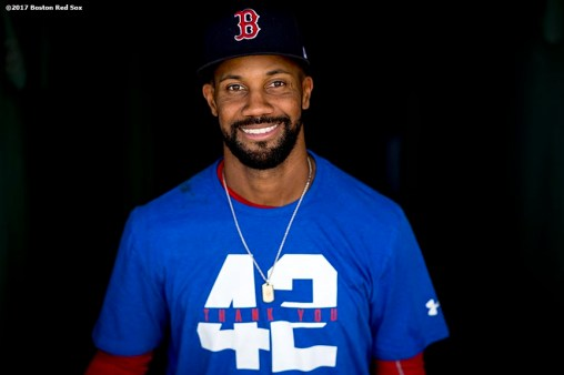 BOSTON, MA - APRIL 15: Chris Young #30 of the Boston Red Sox poses wearing a shirt recognizing Jackie Robinson Day before a game against the Tamp Bay Rays on April 15, 2017 at Fenway Park in Boston, Massachusetts. (Photo by Billie Weiss/Boston Red Sox/Getty Images) *** Local Caption *** Chris Young